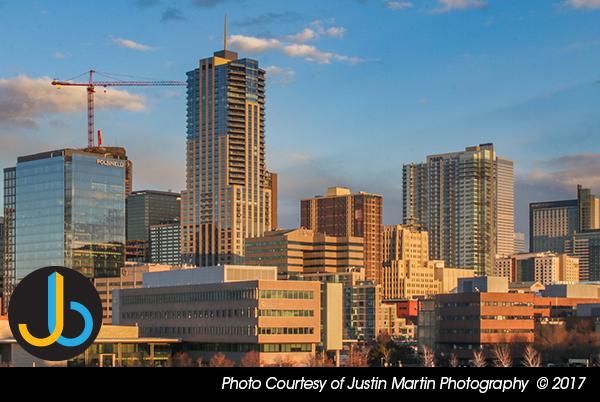 Downtown Denver Buildings And Crane